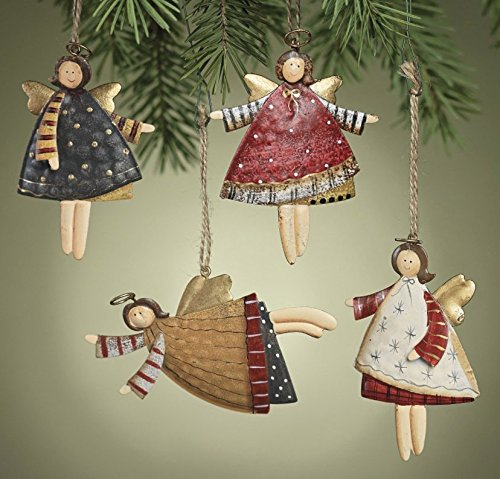 Tin Angel Ornaments - Tin Angels, Set of 24, Metal Ornaments