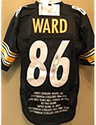 Hines Ward Pittsburgh Steelers Signed Autograph Black Custom Embroidered Stat Jersey JSA Witnessed Certified