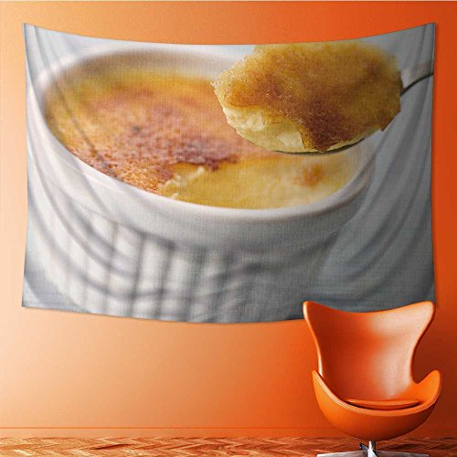 AmaPark Polyester Tapestry Wall Hanging Spoonful of Creme Brulee Wall Decor for Bedroom Living Room Dorm 60W x 40L Inch Creme Brulee Wall Decor