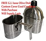 G.I. Style Stainless Steel 1qt. Canteen/cup. With Used Surplus G.I. Issue Olive Drab Nylon Canteen Cover.
