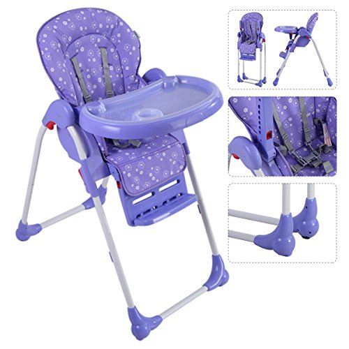 Gracelove Adjustable Baby High Chair Infant Toddler Feeding Booster Seat Folding [US Stock] (Purple)