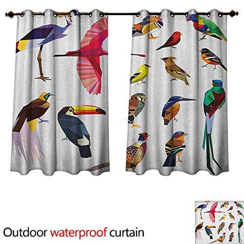 Anshesix Birds Outdoor Curtains for Patio Sheer Colored Collection Bird Set with Poly Design Triangle in Mosaic Style Illustration W63 x L63(160cm x 160cm)