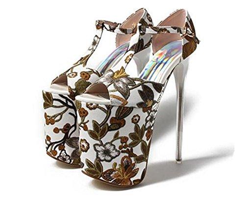 XIE Chaussures pour femmes Impression Talon haut bloc Open Toe Fête et soirée club Plate-forme Des sandales Pompes Taille 35 à 41 EU37