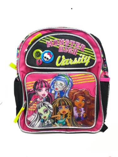Monster High Small Size Black Varsity Backpack Bookbag 12 inches