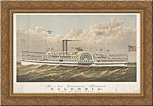 Canvas 1877 Framed (Columbia, New York excursion steamship, built 1877 24x18 Gold Ornate Wood Framed Canvas Art by Currier and Ives)