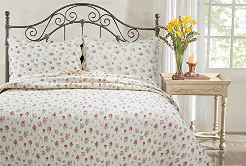(Cozy Line Home Fashions Roses Bedding Quilt Set, Ivory Pink Flower Floral Print Pattern 100% Cotton Reversible Coverlet Bedspread(Ivory/Roses, King - 3 Piece) )