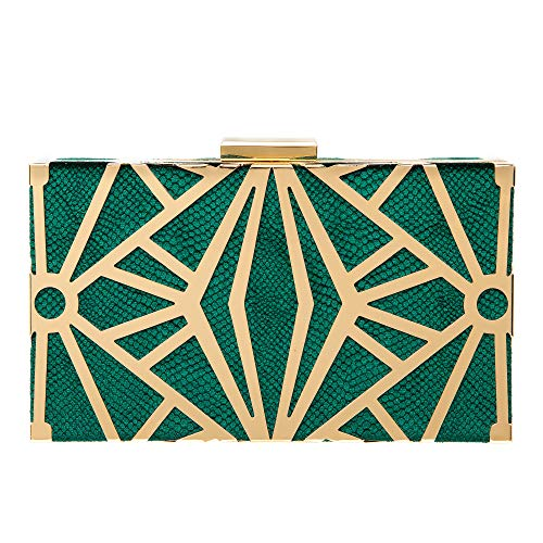 Green Clutch Purse - Women Evening Purse Velvet Clutch Bag Exquisite Metal Hollow out Designer Clutch Handbags