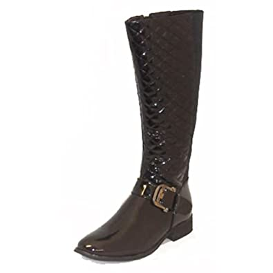 Patent with Boots Effect SendIt4Me Flat Length Black Knee Qulited 5WOw00n8q6