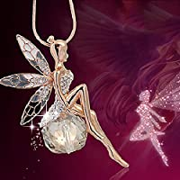 Ransopakul Fashion Women Crystal Fairy Angel Wing Pendant Long Chain Sweater Necklace Gift