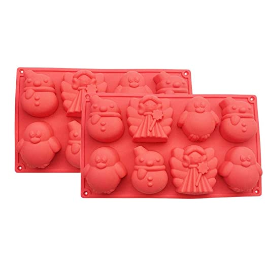 Falliback 2 moldes de Silicona para Hornear con Mariposa, príncipe, muñeco de Nieve, pingüino, Modelo, caseta para Magdalenas, Cupcakes, Pasteles, ...
