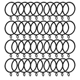 SODIAL 40 Pack Curtain Rings, 38mm Internal Diameter Curtains Rings Hanging Rings for Curtains and Rods, Black