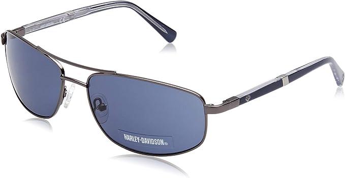 HARLEY-DAVIDSON HD0922X Gafas de sol, Negro (Shiny Gunmetal/Blue), 61.0 para Hombre