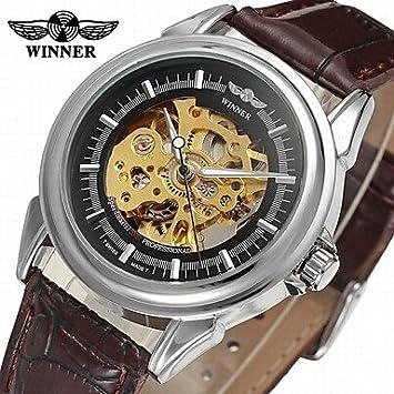Relojes Hermosos, WINNER Hombre Reloj de Pulsera Reloj de Vestir Reloj de Moda Cuerda Automática Huecograbado Piel Banda Vintage Casual Negro (Color ...