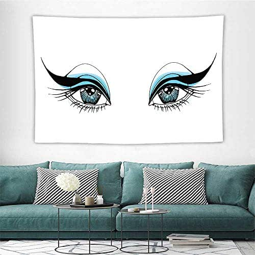 EyeTapestries for Room Expressive Look of a Woman Without Eyebrows Artistic Blue and Black Make Up Bedroom Wall Hanging W47 x L47 inch