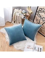 MIULEE Set van 2 fluwelen kussenslopen, pompon, sierkussen, decoratieve kussenslopen, bankkussens, bankkussens, sierkussens voor bank, woonkamer, slaapkamer, bed, 45 x 45 cm, lichtblauw