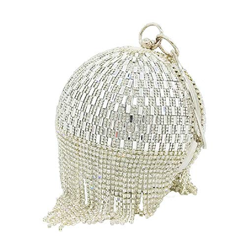 (Round Silver Crystal Evening Clutch Bag Wedding Bridal Wristlets Handbag Purse)