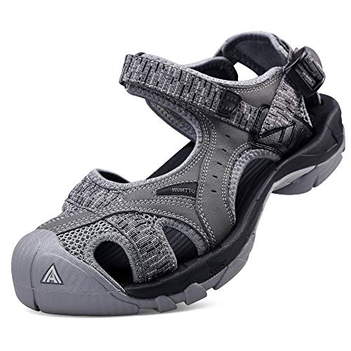Mens Hiking Outdoor Sandals Summer Athtletic Walking Water Shoes with Closed Toe Grey