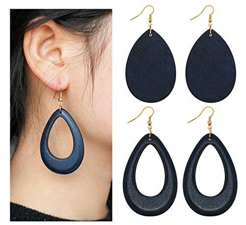 Wowanoo Natural Wood Earrings Geometric Earrings Wooden Water Drop Earrings for Women Statement Earrings (Wooden Fashion Earrings)