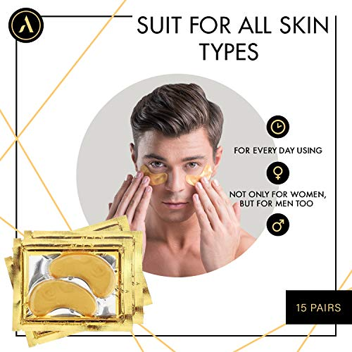 5138ZVSUsBL - ALLUREY 24K Gold Collagen Eye Mask, Best Eye Care, Anti-aging and Anti-wrinkle Effect, Moisturizes, Reduces Puffiness and Dark Circles, Under Eye Patches (15 Pairs)