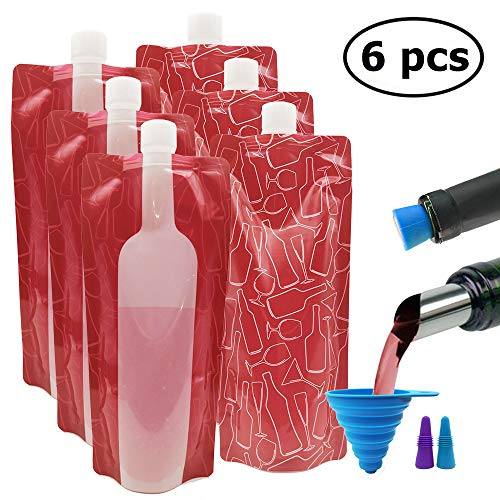 6 pcs Wine Bag Flask with 2 Wine Stoppers & Funnel, ANIN 750ml Reusable Foldable Plastic Wine Bottle Cooler Leek Proof Camping Accessories for Travel Hiking Wine Liquor Beverages