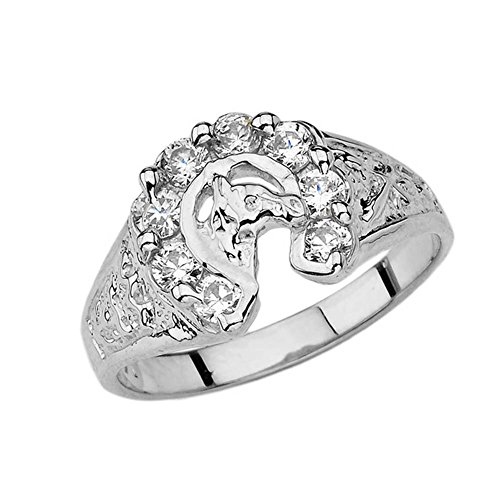 Western Horseshoe Ring - Lucky Horseshoe Ring with CZ in Solid Sterling Silver (Size 6)