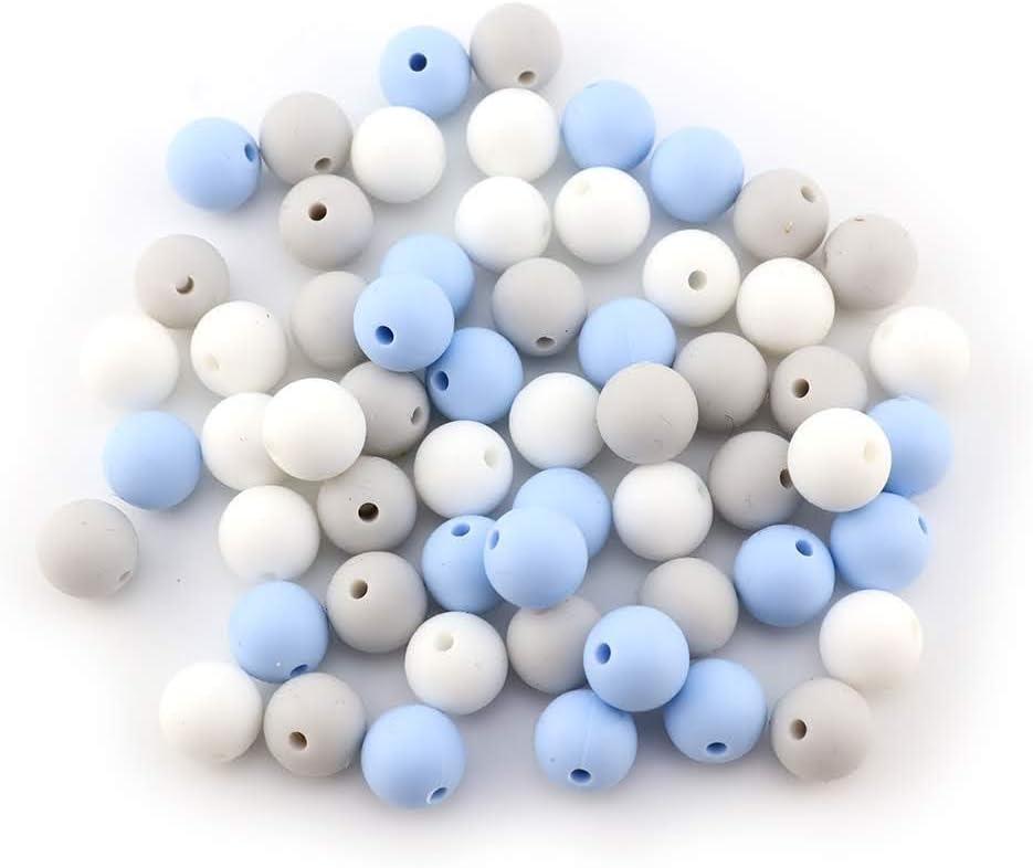Brisa Marina, Bolas /Ø12mm 60 Perles silicone bebe pour assembler attache sucette//Colliers//Anneau dallaitement Allaitement Couleurs Combin/ées RUBY