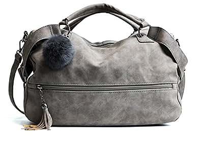 DOFE Ladies Large Capacity Crossbody Handbag with Tassel and Pom Pom Ball,Soft PU Leather Shoulder Bag. Grey Size: Large