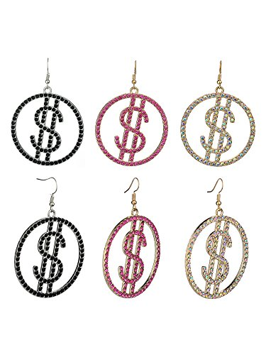 Women's Stone Stud Encircled Dollar Sign Money Symbol Dangle Pierced Earrings Set, Black/Pink/Aurora Borealis Black / Aurora Pink