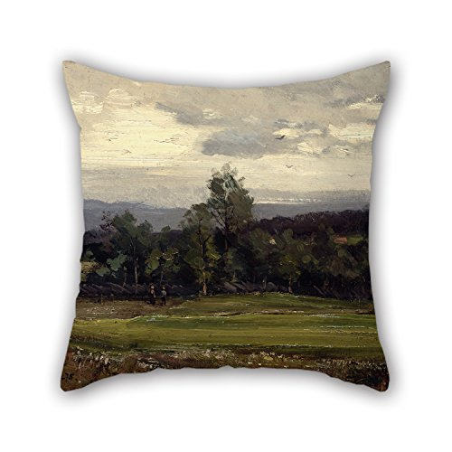 Oil Painting Gerhard Munthe - Fields At Hedmark In Summer Throw Pillow Covers 16 X 16 Inches / 40 By 40 Cm Gift Or Decor For Divan Dinning Room Home Theater Her Bf Outdoor - 2 Sides