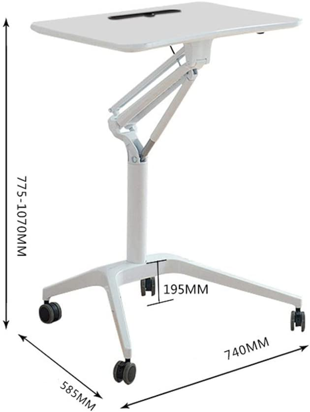 サイドテーブル モバイル立ちノートパソコンのデスクは、高さ調節可能なローリングシットはキャスター書見台とワークステーションをスタンド 本の放置に適合、移動可能なお菓子テーブル (Color : White, Size : One size)