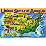 Melissa & Doug Deluxe Wooden USA Map Puzzle