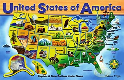 Amazon.com: Melissa & Doug USA Map Wooden Puzzle (45 pcs): Melissa ...