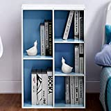 Classroom Bookshelves and Bookcases Many Tier White and Blue Finish Industrial Modern Label Cubicals Rectangle Bookcase & E-Book