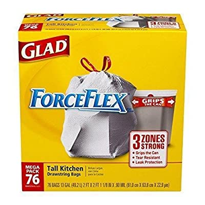 Glad ForceFlex Drawstring Tall Kitchen Trash Bags, Unscented, 13 Gallon