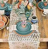 Flber Macrame Table Runners Handwoven Boho Wedding Table Decoration Bedding Blanket,13.8''x 118''