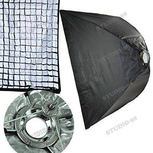 39 X 39 Inch Foldable Umbrella Like Collapsible Square Softbox (100 X 100 Cm) + 40 Degree Grid + Ring for Alienbees Alien Bees B400 B800 B1600 White Lightning X800 X1600 Einstein E640 Flash Light