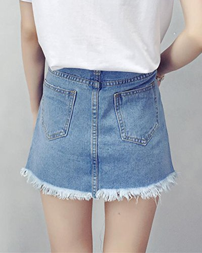 Mujer Corto Falda de Mezclilla Mini Vaquera Faldas Azul
