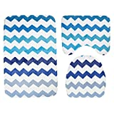 PLLP Bathroom Mat, Flannel Printed Wave Pattern Bathroom Bathroom, Toilet Mat Three-Piece Toilet Seat Slip Mat,A,75453
