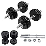 Apontus 66 LB Weight Dumbbell Set Adjustable Cap Gym Barbell Iron Plates Body Workout