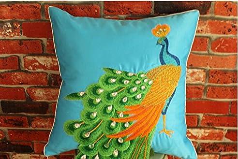 plandv® 3D-Muster Dekorative Kissenhülle - 1 Stück in verschiedenen Farben Blue With Green Peacock