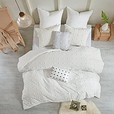 Urban Habitat Brooklyn Teen Girls Duvet Cover Set Full/Queen Size - Ivory, Tufted Cotton Chenille Dots – 7 Piece Duvet Covers Bedding Sets – 100% Cotton Jacquard Girls Bedding Bed Sets