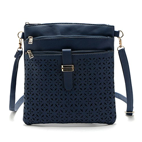 DukeTea Multi Pockets Medium Crossbody Purse, Faux Leather Crossover Shoulder Bag for Women Blue ()