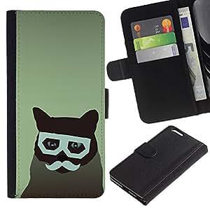 """Be-Star la tarjeta de Cr¨¦dito Slots PU Funda de cuero Monedero caso cubierta de piel Para Apple (5.5 inches!!!) iPhone 6+ Plus / 6S+ Plus ( Gato Arte del inconformista del bigote de los vidrios felina"""" )"""