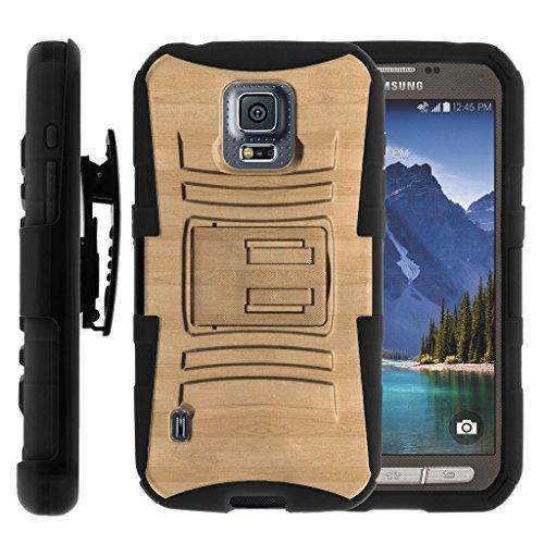 TurtleArmor | Samsung Galaxy S5 Active Case | G870 [Hyper Shock] Hybrid Dual Layer Armor Holster Belt Clip Case Kickstand - Maple Wood