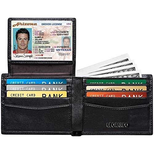 RFID Blocking Mens Wallet - Excellent Genuine Leather Bifold Wallet/Credit Card Holder for Men