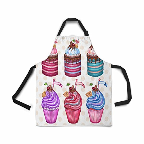 InterestPrint Adjustable Bib Apron for Women Men Girls Chef with Pockets, Vintage Cupcake Watercolor Cake Cherry Chocolate Cream Novelty Kitchen Apron for Cooking Baking Gardening Grooming Cleaning