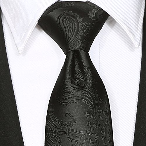 KissTies Extra Long Tie Set: Black Paisley Necktie + Hanky + Gift Box (63'' XL) by KissTies (Image #7)