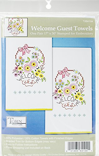 Tobin Welcome Guest Stamped Kitchen Towels for Embroidery (2/Pack), 18