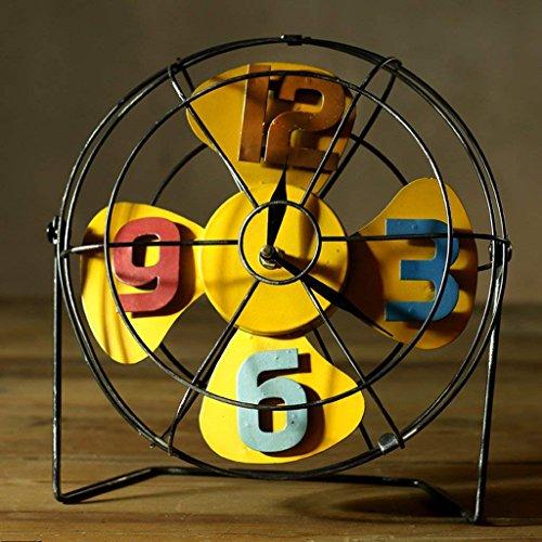 (DHG Drm Fan Clock Retro Iron Ornaments Nostalgic Metal Crafts American Coffee Shop Shop Bar Personalized)