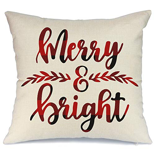 AENEY Christmas Pillow Cover 18x18 for Couch Red and Black Buffalo Check Plaid Merry and Bright Throw Pillow Farmhouse Decorations Home Decor Xmas Decorative Pillowcase Faux Linen Cushion Case Sofa